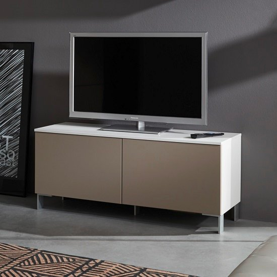 Terence Small TV Stand In White With Sand Fronts