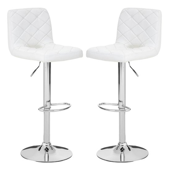 Terot White Faux Leather Gas Lift Bar Stools In Pair