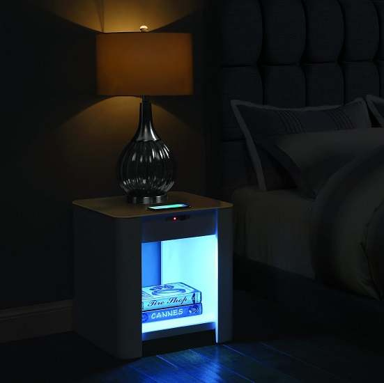 Terrence Smart Bedside Cabinet In White With Speaker_2
