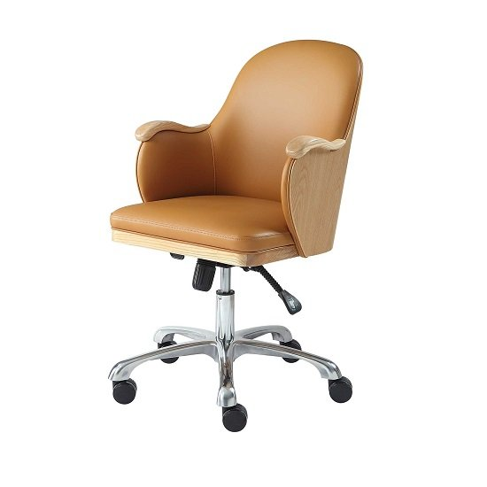 Terrence Faux Leather Office Chair In Tan And Ashwood Finish_2