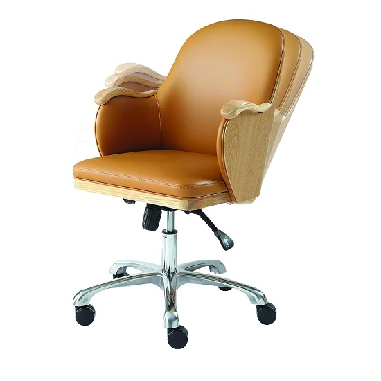 Terrence Faux Leather Office Chair In Tan And Ashwood Finish_4