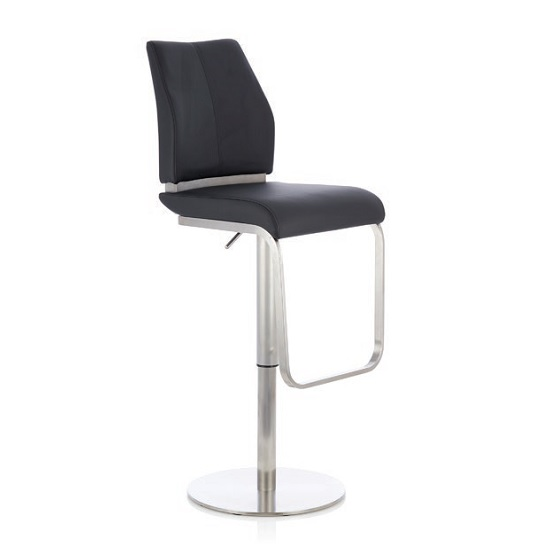 Terry Bar Stool In Black Faux Leather And Stainless Steel Base