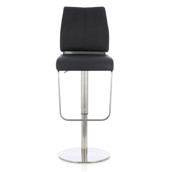 Terry Bar Stool In Black Faux Leather And Stainless Steel Base_2