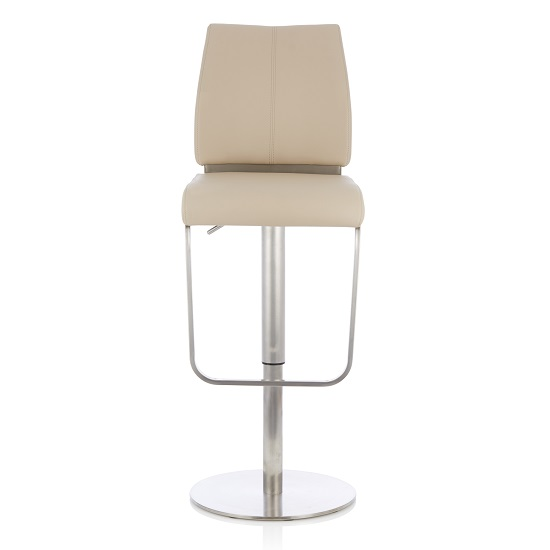 Terry Bar Stool In Taupe Faux Leather And Stainless Steel Base