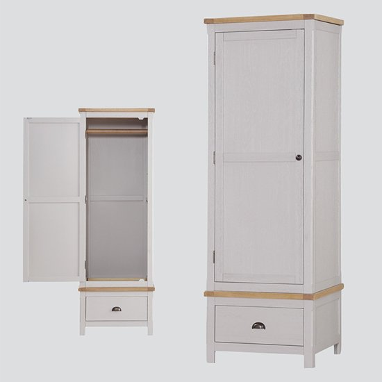 Tertia Wardrobe In Stone Painted With 1 Door And 1 Drawer