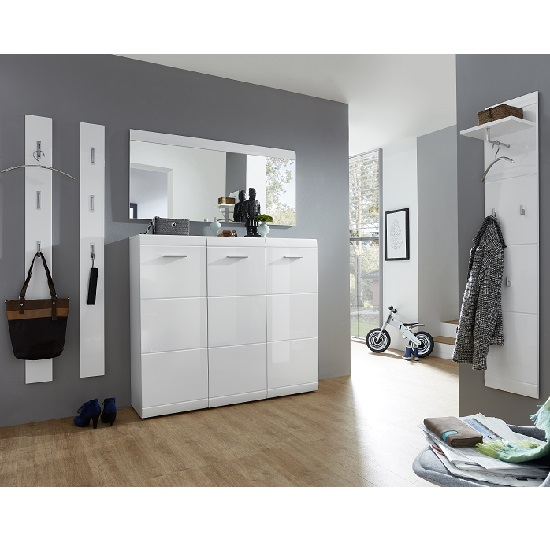 Adrian Large Shoe Cabinet In White Gloss Fronts With 3 Doors_3