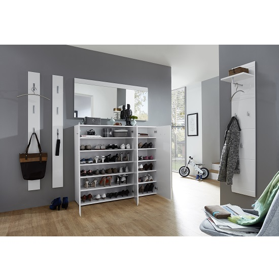 adrian large shoe cabinet in white gloss fronts with 3. Black Bedroom Furniture Sets. Home Design Ideas