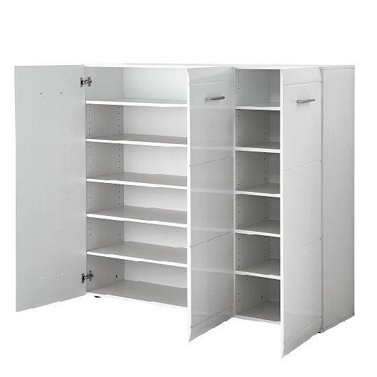 Adrian Large Shoe Cabinet In White Gloss Fronts With 3 Doors_2