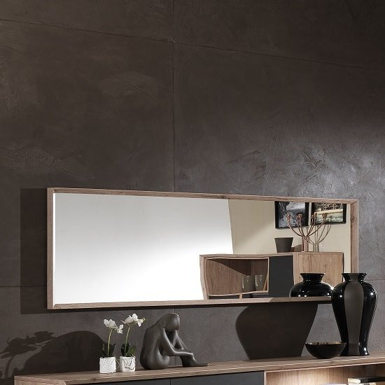Tesla Wooden Wall Mirror Rectangular In Oak Finish