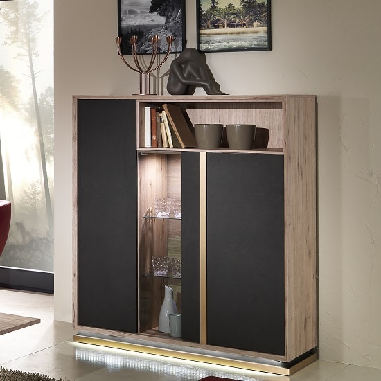 Tesla Display Cabinet In Oak And Brown With 3 Doors And LED