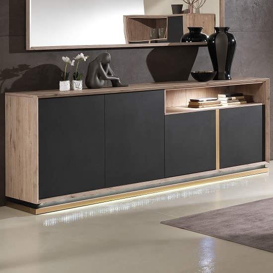 Tesla Wooden Sideboard In Oak And Brown With 4 Doors And LED