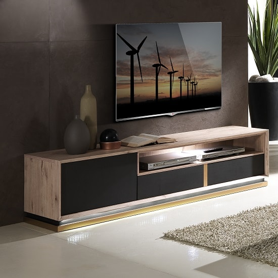 Tesla Wooden TV Stand In Oak And Brown With 1 Door And LED