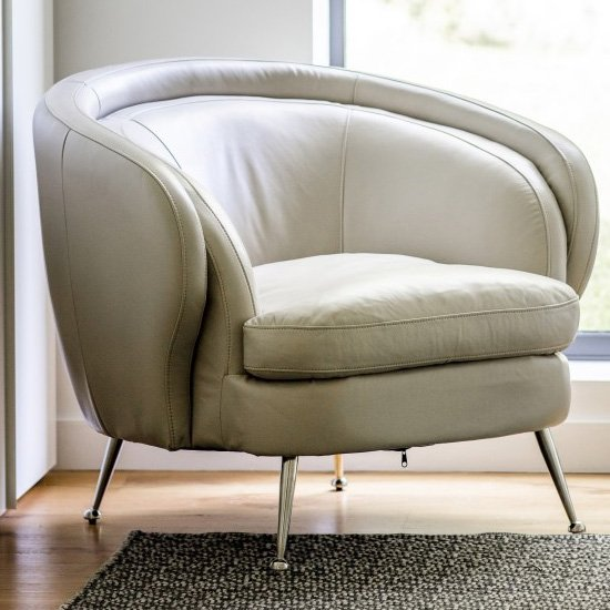 Tesoro Faux Leather Tub Chair In Cream_1