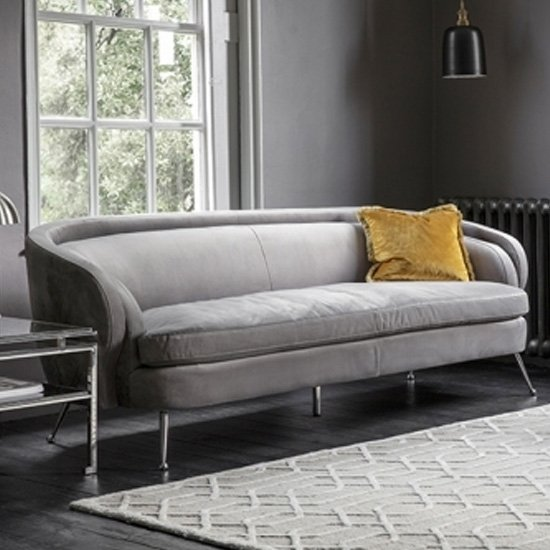 Tesoro Velvet Upholstered 3 Seater Sofa In Grey