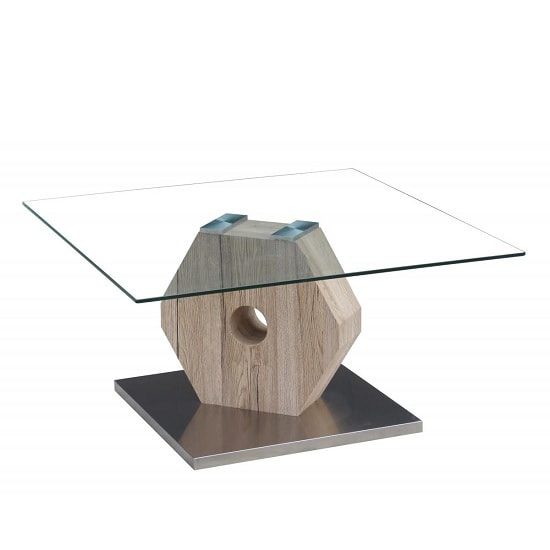 Tessa Glass Coffee Table With Natural And Brushed Steel Base