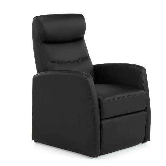 Photo of Tetbury contemporary recliner chair in black faux leather