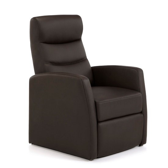 Photo of Tetbury contemporary recliner chair in brown faux leather