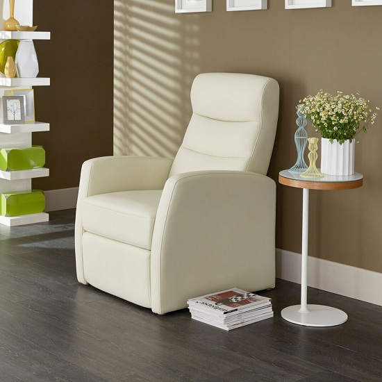 Photo of Tetbury contemporary recliner chair in cream faux leather