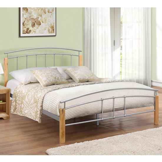 Product photograph showing Tetras Steel Small Double Bed In Beech And Silver
