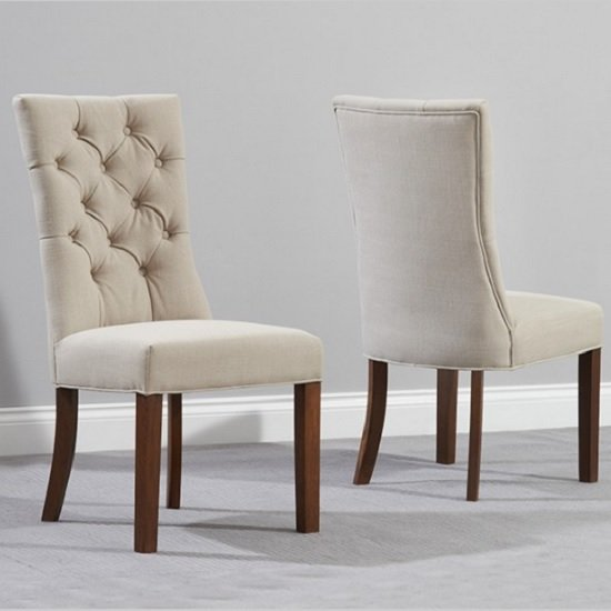 Tetras Fabric Dining Chair In Beige And Dark Oak In A Pair