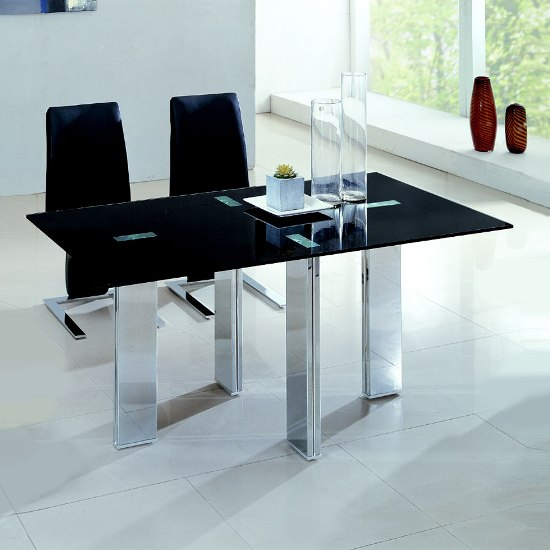 Citrus Black Glass Dining Table Only