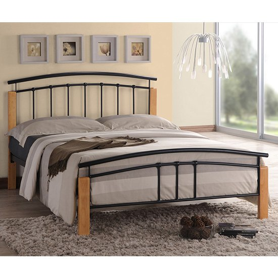 Tetron Metal Double Bed In Black With Beech Wooden Posts