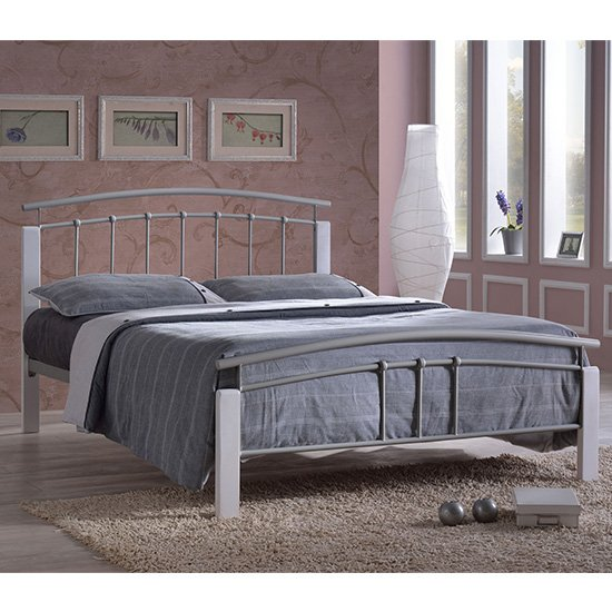 Tetron Metal Double Bed In Silver With White Wooden Posts