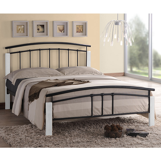 Tetron Metal King Size Bed In Black With White Wooden Posts