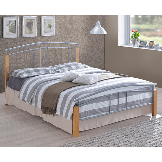 Tetron Metal Small Double Bed In Silver With Beech Wooden Posts_1