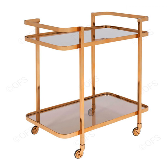 Tevel Rectangular Drinks Trolley In Antique Gold_2