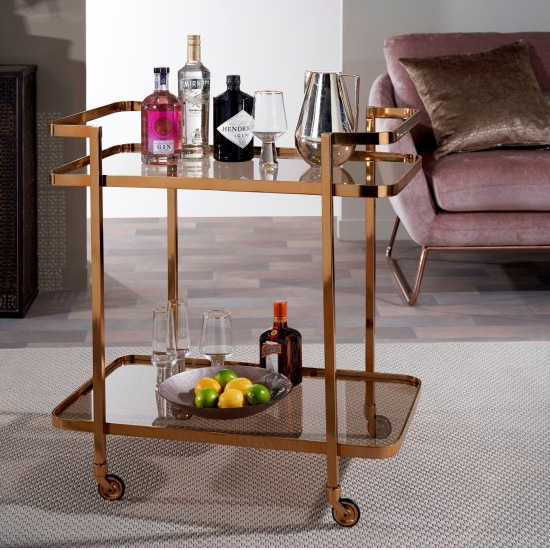 Tevel Rectangular Drinks Trolley In Antique Gold