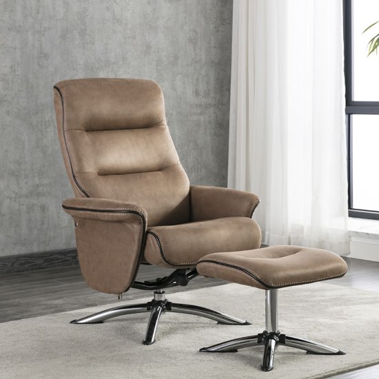 Texopy Faux Leather Swivel Recliner Chair With Stool In Caramel
