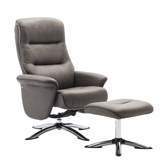 Texopy Faux Leather Swivel Recliner Chair With Stool In Grey_2
