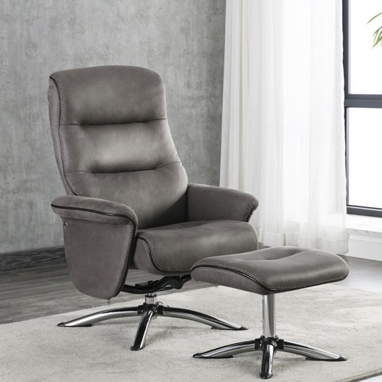 Texopy Faux Leather Swivel Recliner Chair With Stool In Grey