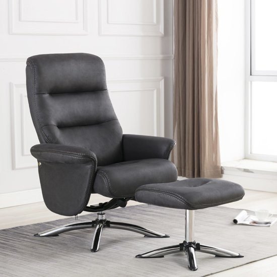 Texas Faux Leather Swivel Recliner Chair With Stool In Slate_1