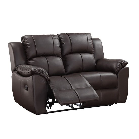 Texas 2 Seater Recliner Sofa In Brown Faux Leather