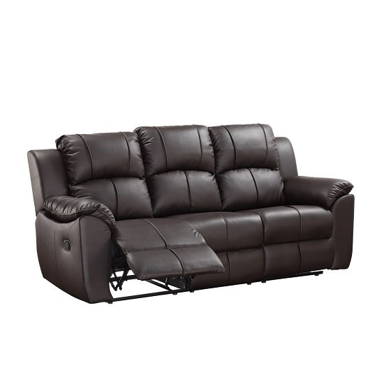 Texas 3 Seater Recliner Sofa In Brown Faux Leather