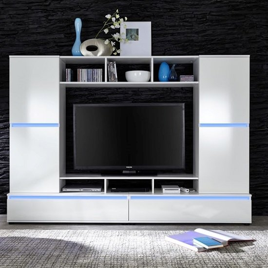 Texas Entertainment Unit In White Gloss Fronts With Led
