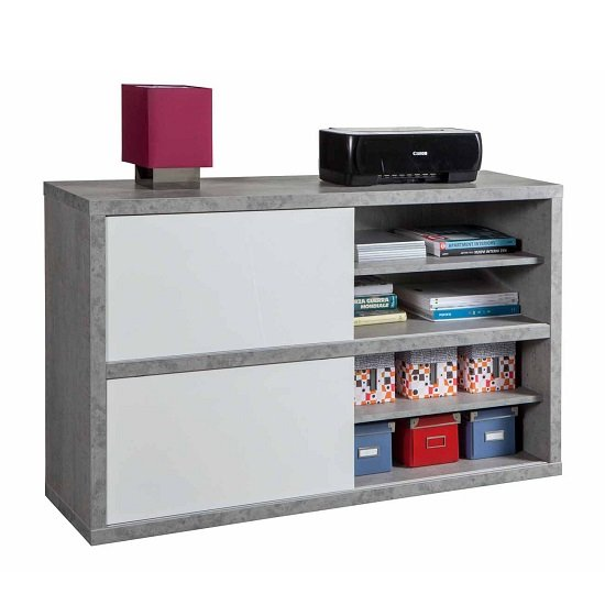 Theon Low Bookcase In Grey And White Gloss With Sliding Doors_2