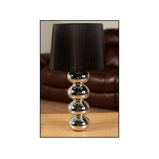 Theron Table Lamp In Black Shade With Chrome Plated Base
