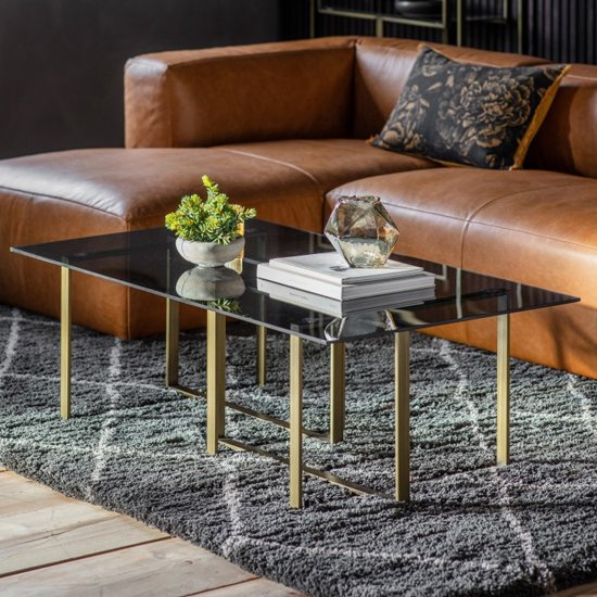 View Throwla black glass coffee table with bronze metal frame