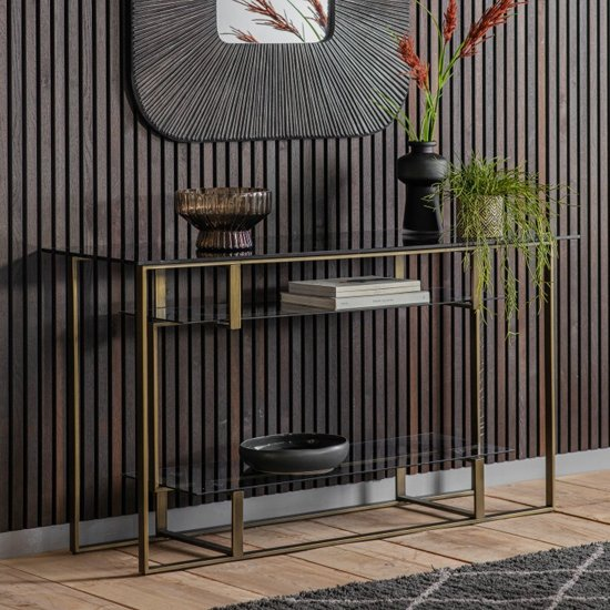 View Throwla black glass console table with bronze metal frame