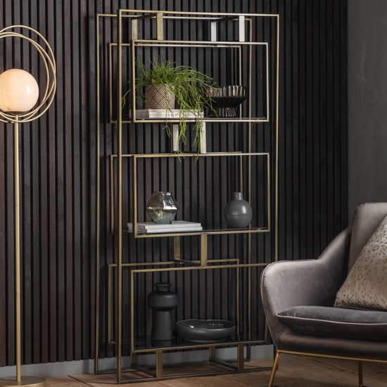 Throwla Black Glass Open Display Unit With Bronze Metal Frame