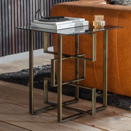 Throwla Black Glass Side Table With Bronze Metal Frame