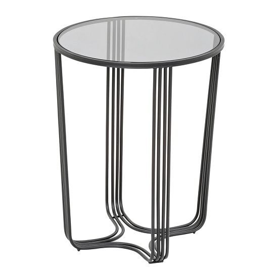 Thurston Glass Side Table In Clear With Metal Frame