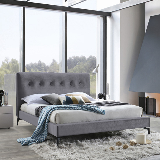 Tia Fabric Upholstered King Size Bed In Grey