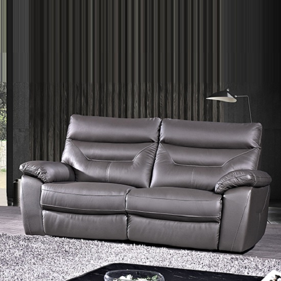 Tiana Contemporary 3 Seater Sofa In Grey Faux Leather