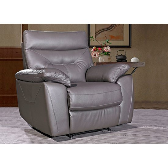 Tiana Contemporary Armchair In Grey Faux Leather