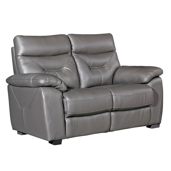 Tiana Contemporary Faux Leather Fixed 2 Seater Sofa In Grey