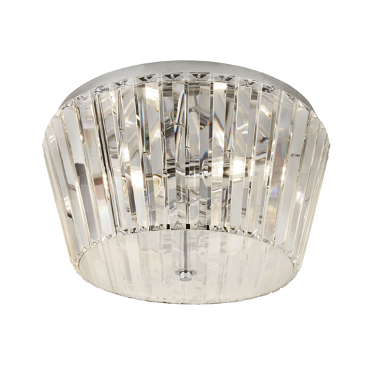 Tiara 3 Lights Flush Ceiling Light In Chrome With Crystal Glass